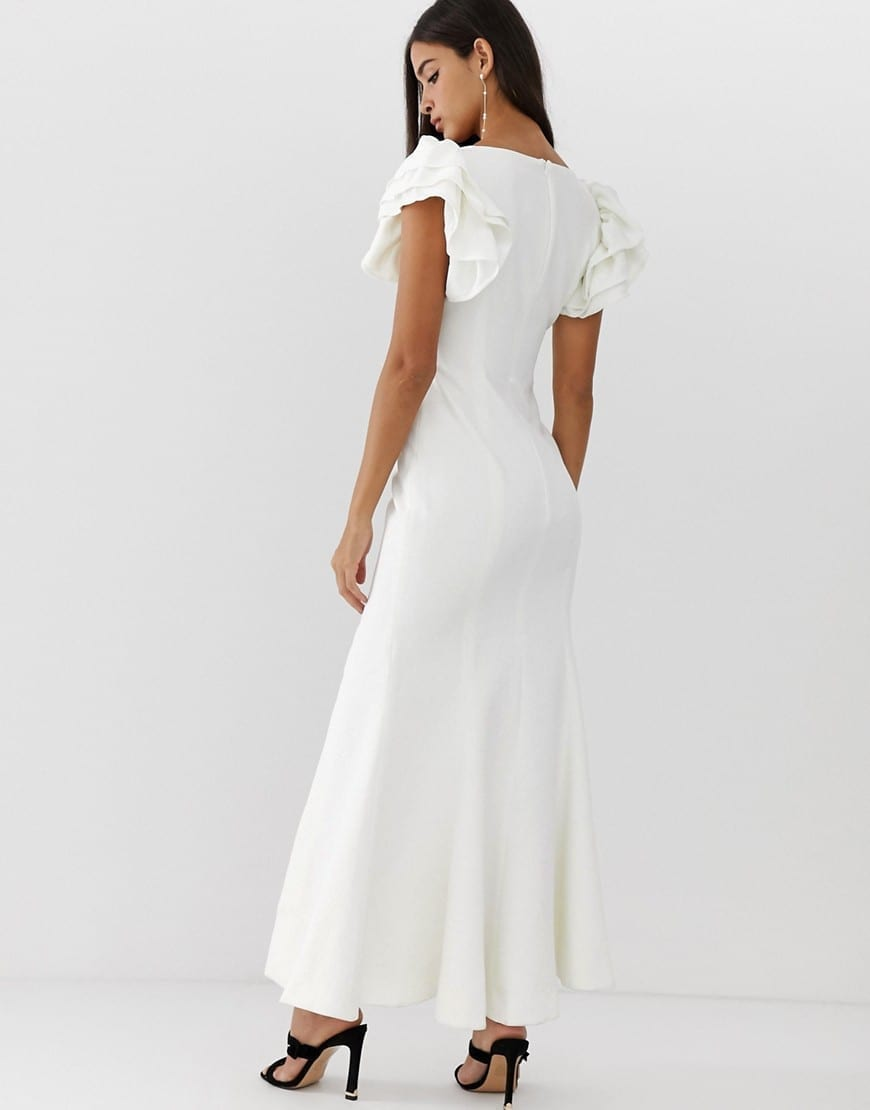 C/MEO COLLECTIVE Heart Of Me Ruflfe Ivory Gown
