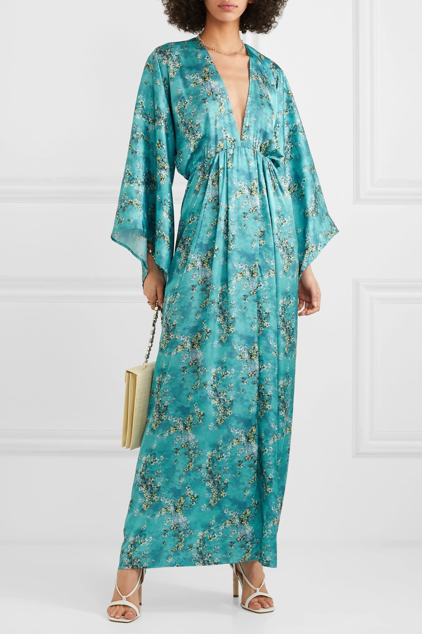 CELIA DRAGOUNI Floral-Print Satin Maxi Blue Dress