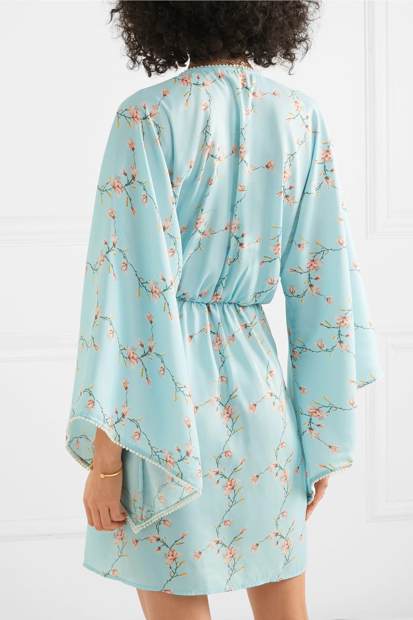 CELIA DRAGOUNI Floral-Print Satin Mini Blue Dress