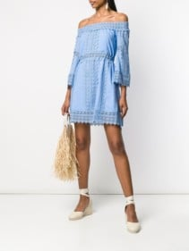 CHARO RUIZ Off-shoulder Embroidered Blue Dress