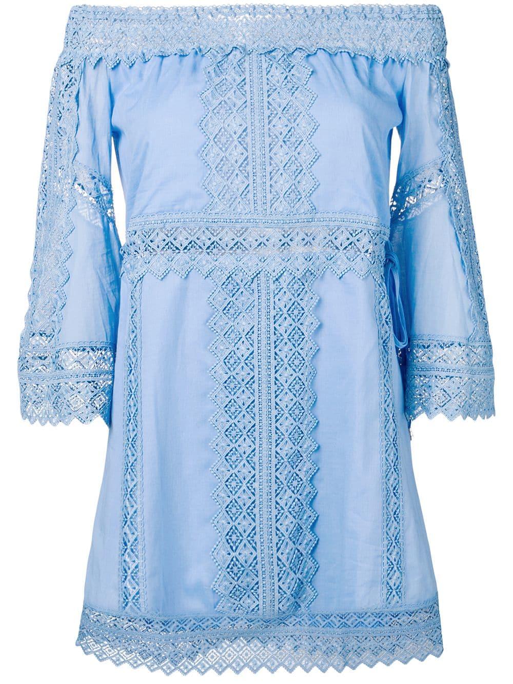 CHARO RUIZ Off-shoulder Embroidered Blue Dress