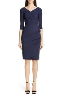 CHIARA BONI LA PETITE ROBE Florien Ruched Cocktail Navy Dress