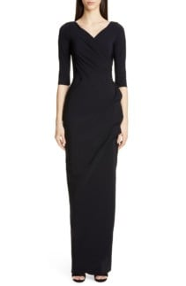 CHIARA BONI LA PETITE ROBE Florien Ruched Evening Black Dress