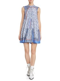 CHLOÉ Bandana Print Babydoll Blue Dress