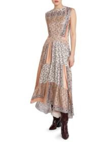 CHLOÉ Patchwork Bandana Print Silk Maxi Beige Dress