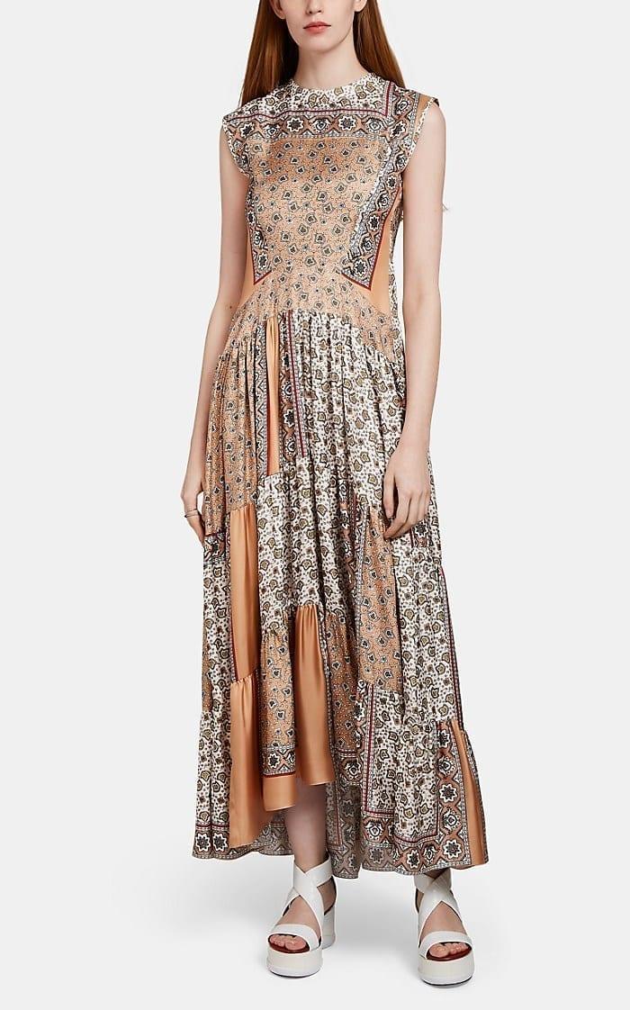 6930ffa7c637e CHLOÉ Sleeveless Midi Boho Chic Jewel Neckline Beige Dress - We ...