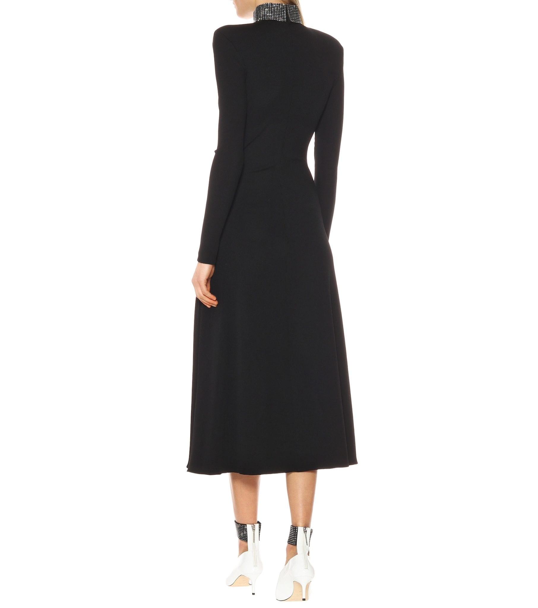 CHRISTOPHER KANE Embellished Stretch Knit Midi Black Dress