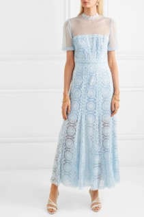 COSTARELLOS Embroidered Swiss-Dot Tulle Maxi Blue Dress