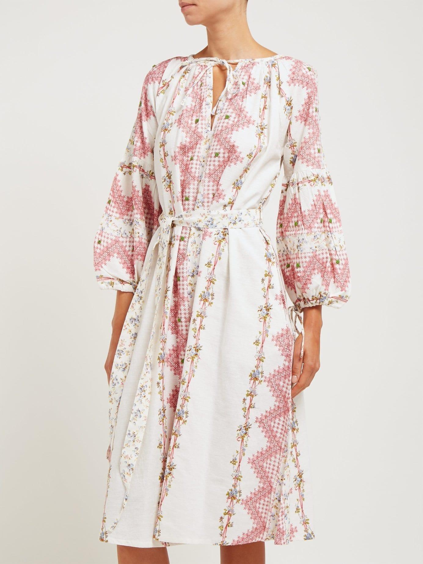 D'ASCOLI Tidewater Floral Print Cotton Red Dress