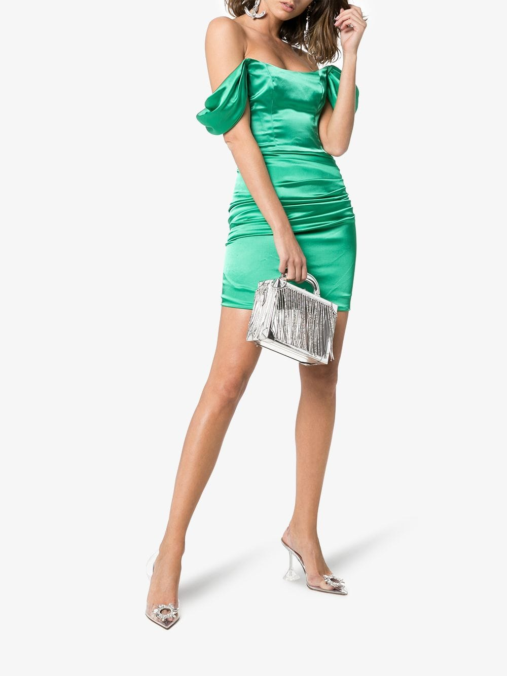 DE LA VALI Guadalupe Off-Shoulder Ruched Satin Mini Green Dress