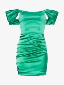DE LA VALI Guadalupe Off-Shoulder Ruched Satin Mini Green Dress