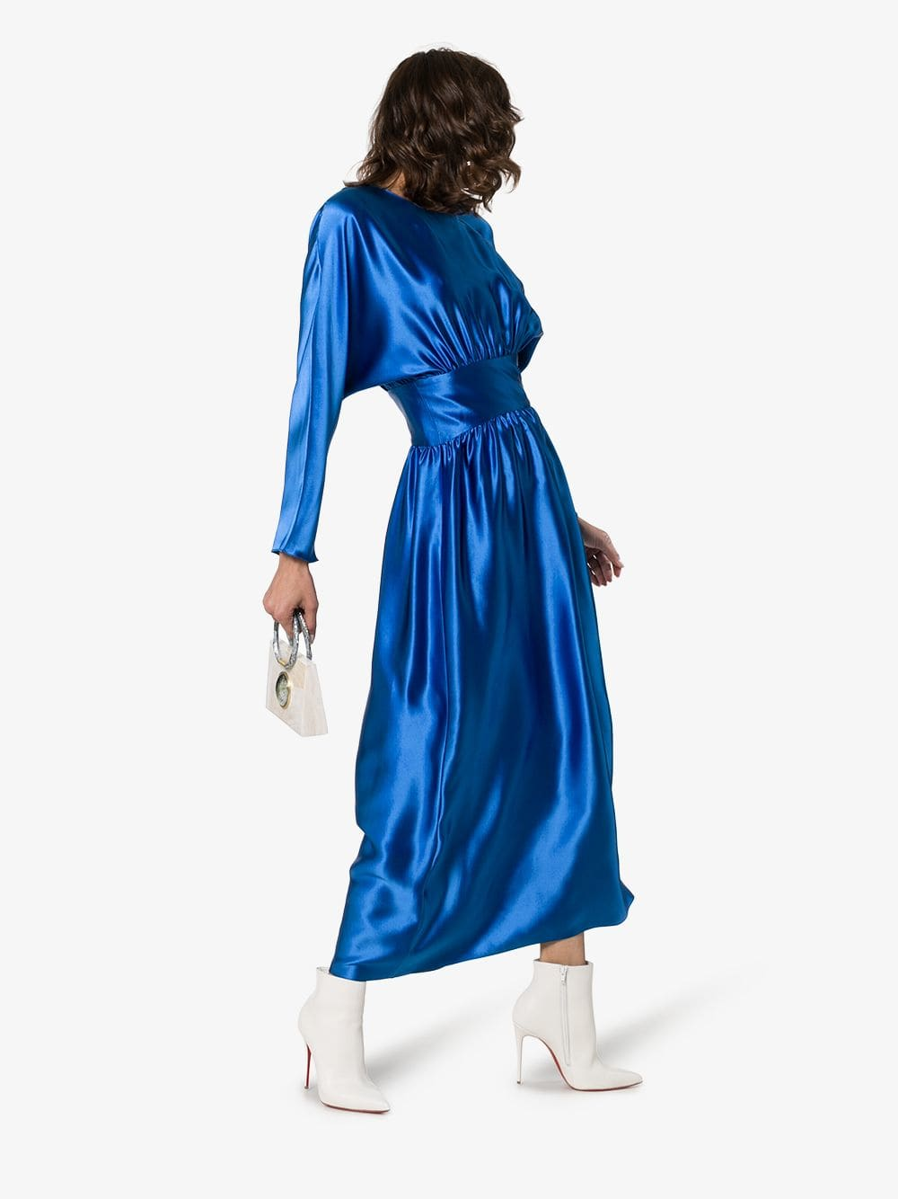 DEITAS Hermine Gathered Silk-satin Blue Dress