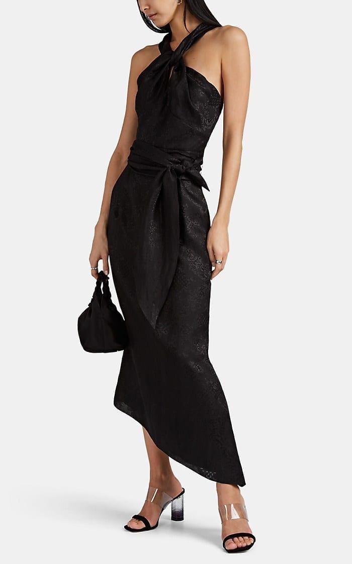 DEREK LAM Floral Linen-Cotton Jacquard Black Gown
