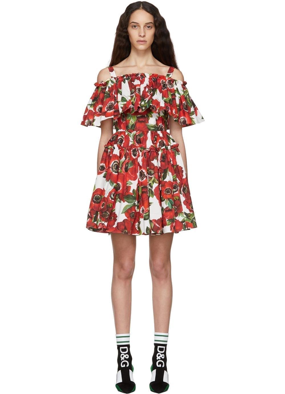 DOLCE & GABBANA Anemone Ruffle Red Dress