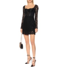 DOLCE & GABBANA Cotton-Blend Lace Mini Black Dress