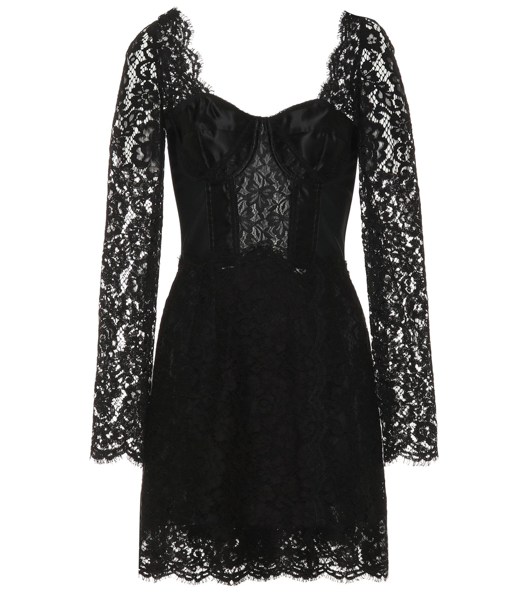 DOLCE & GABBANA Cotton-Blend Lace Mini Black Dress