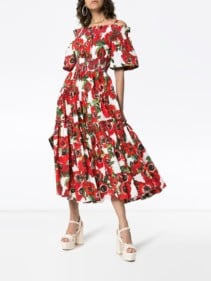 DOLCE & GABBANA Floral-Print Off-Shoulder Cotton White Dress