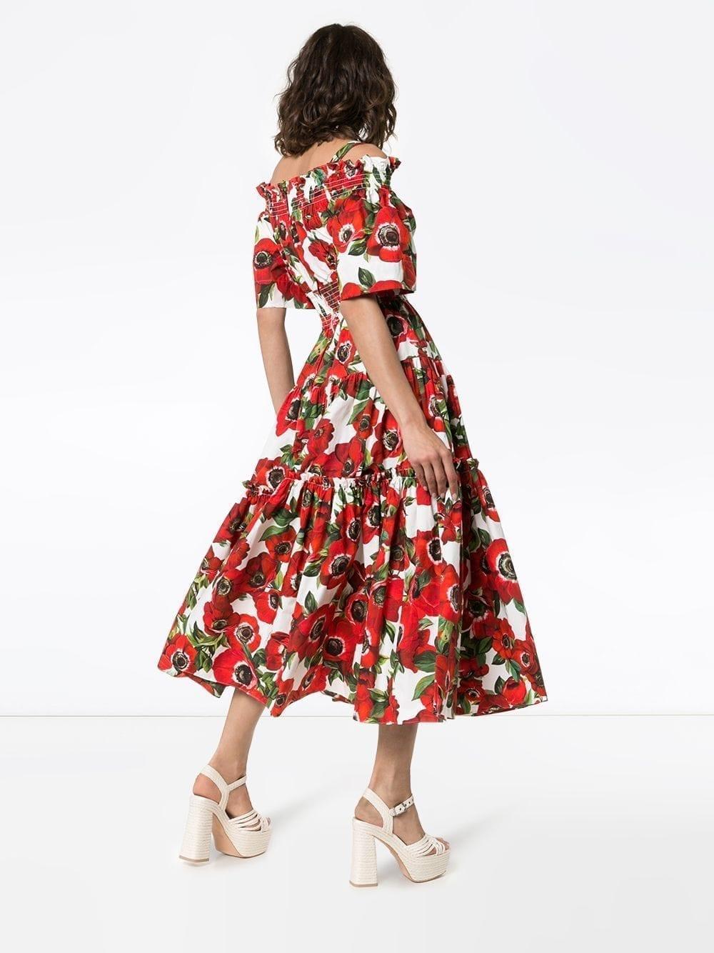 1614eb43 DOLCE & GABBANA Floral-Print Off-Shoulder Cotton White Dress - We ...