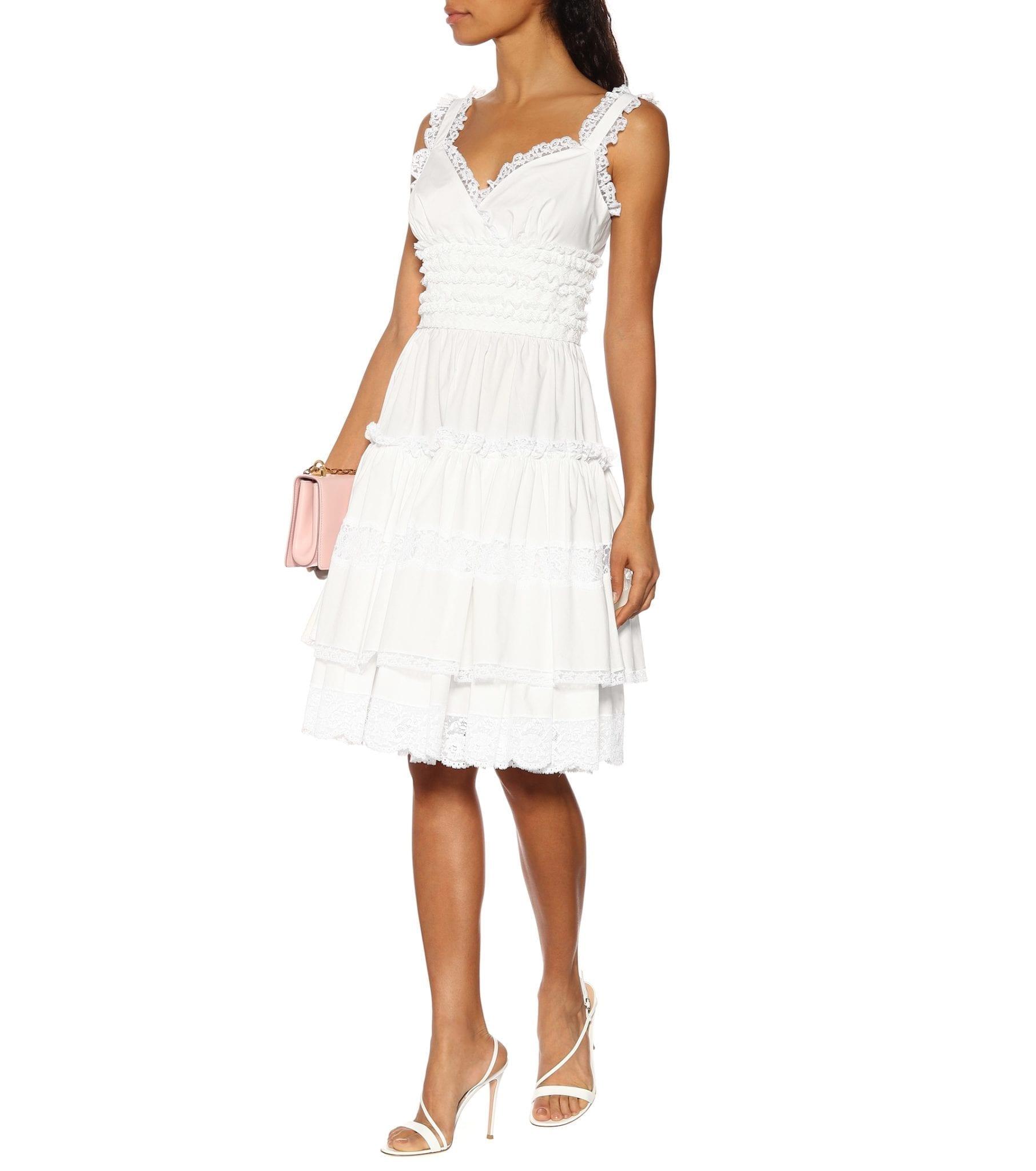 DOLCE & GABBANA Lace-Trimmed Cotton Mini White Dress
