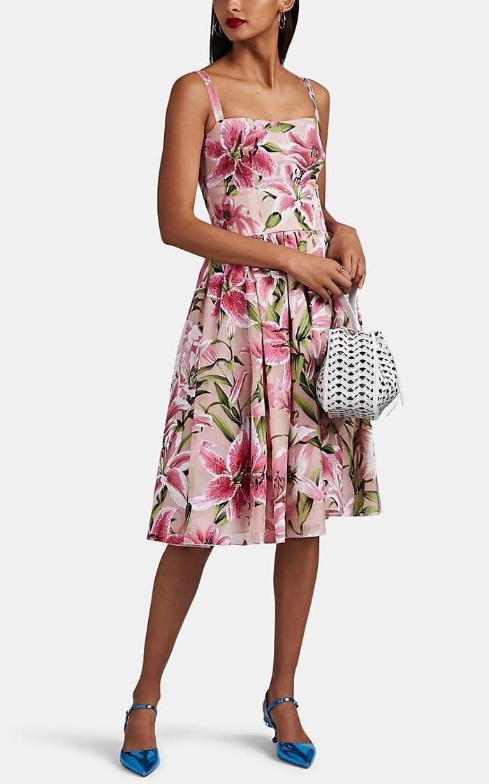 DOLCE & GABBANA Lily-Flocked Organza Midi Pink Dress
