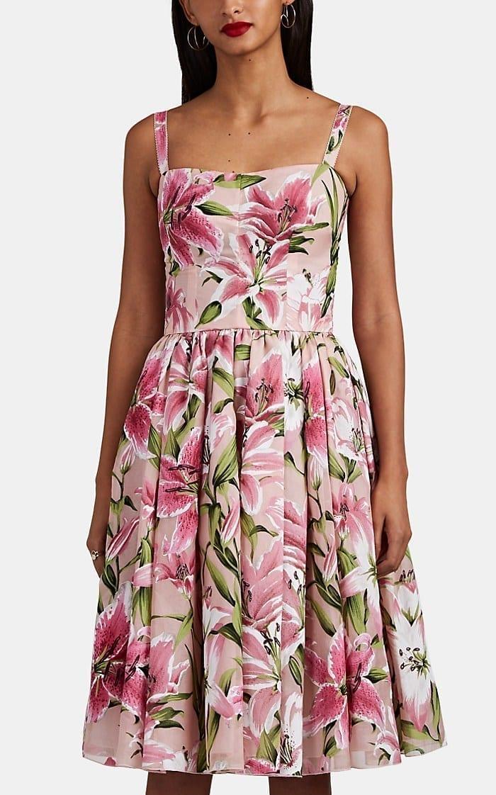 279ec4f6 DOLCE & GABBANA Lily-Flocked Organza Midi Pink Dress - We Select Dresses