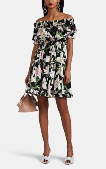 DOLCE & GABBANA Lily-Print Cotton Off-The-Shoulder Tiered Black Dress
