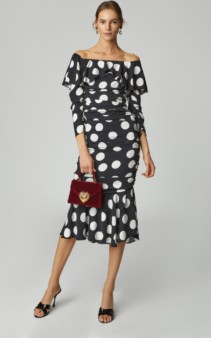 DOLCE & GABBANA Off-The-Shoulder Polka-Dot Charmeuse Black Dress