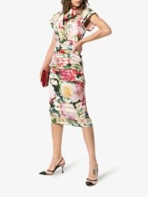 DOLCE & GABBANA V-neck Silk Blend Midi Floral Printed Dress