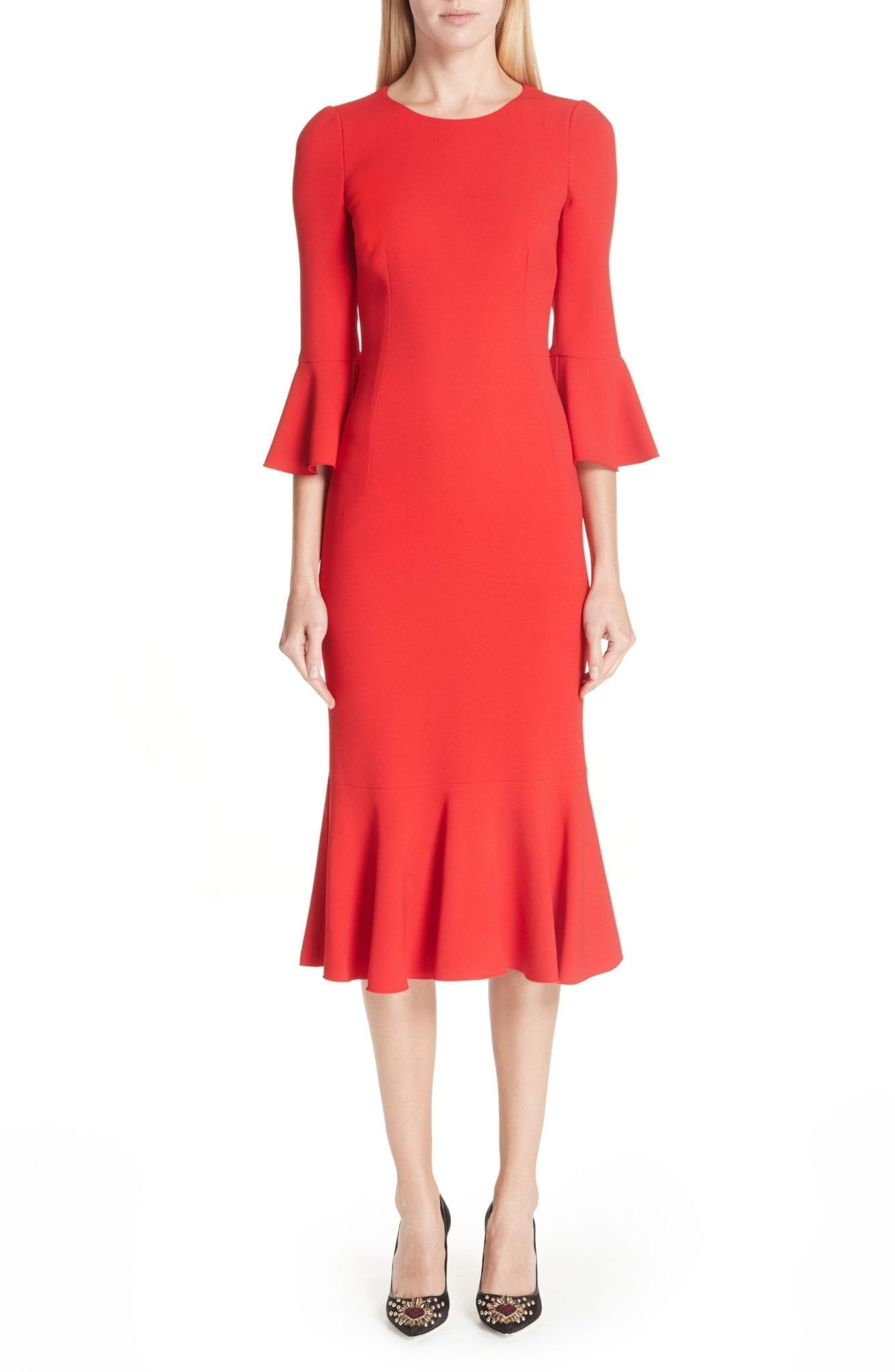DOLCE&GABBANA Ruffle Hem Red Dress