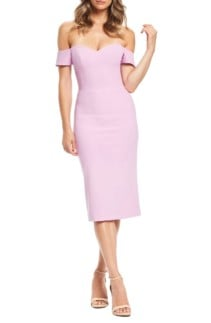 DRESS THE POPULATION Bailey Off the Shoulder Body-Con Lavender Dress