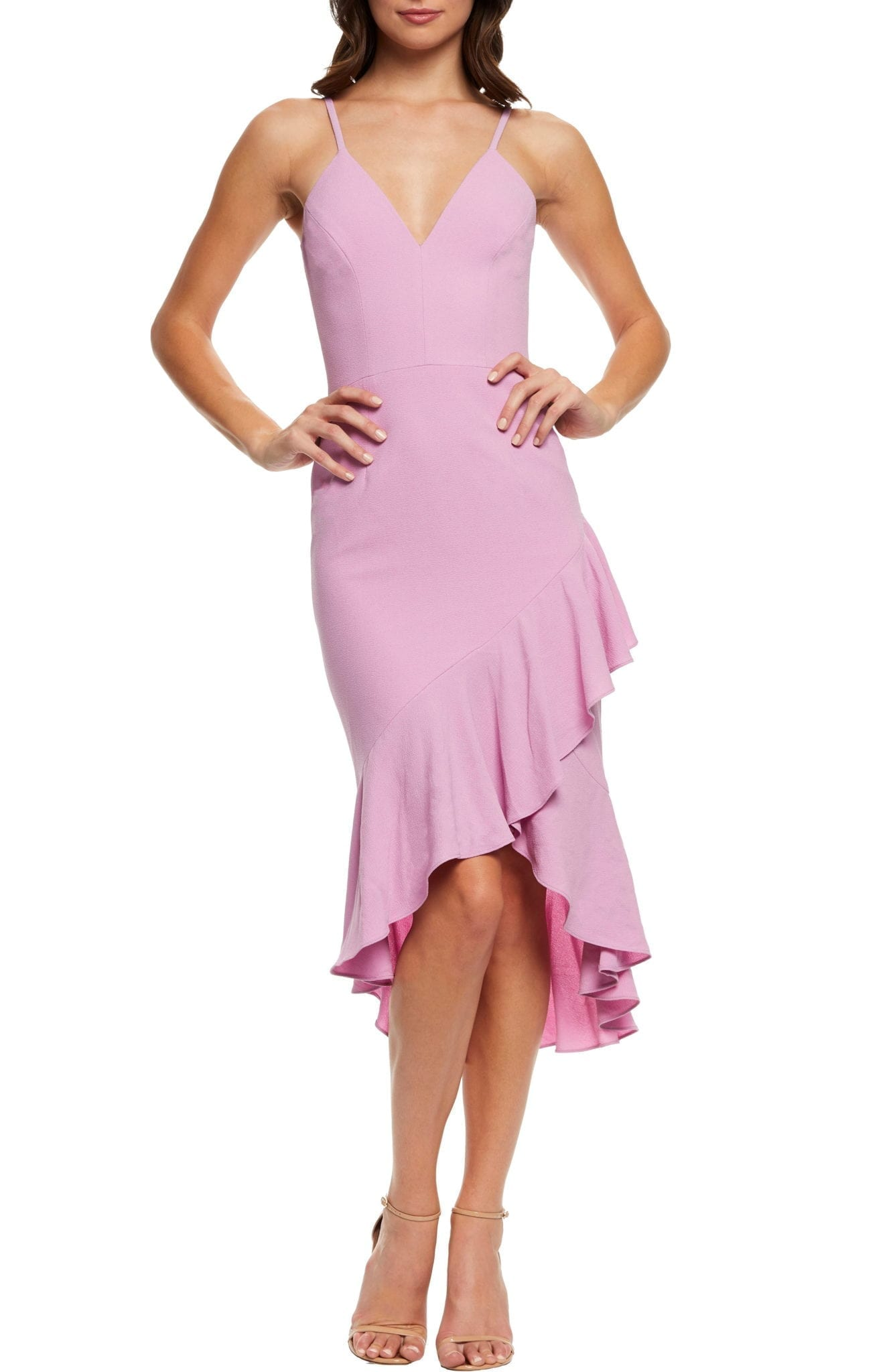 90a03b1a57c DRESS THE POPULATION Wendy High Low Ruffle Cocktail Lavender Dress ...