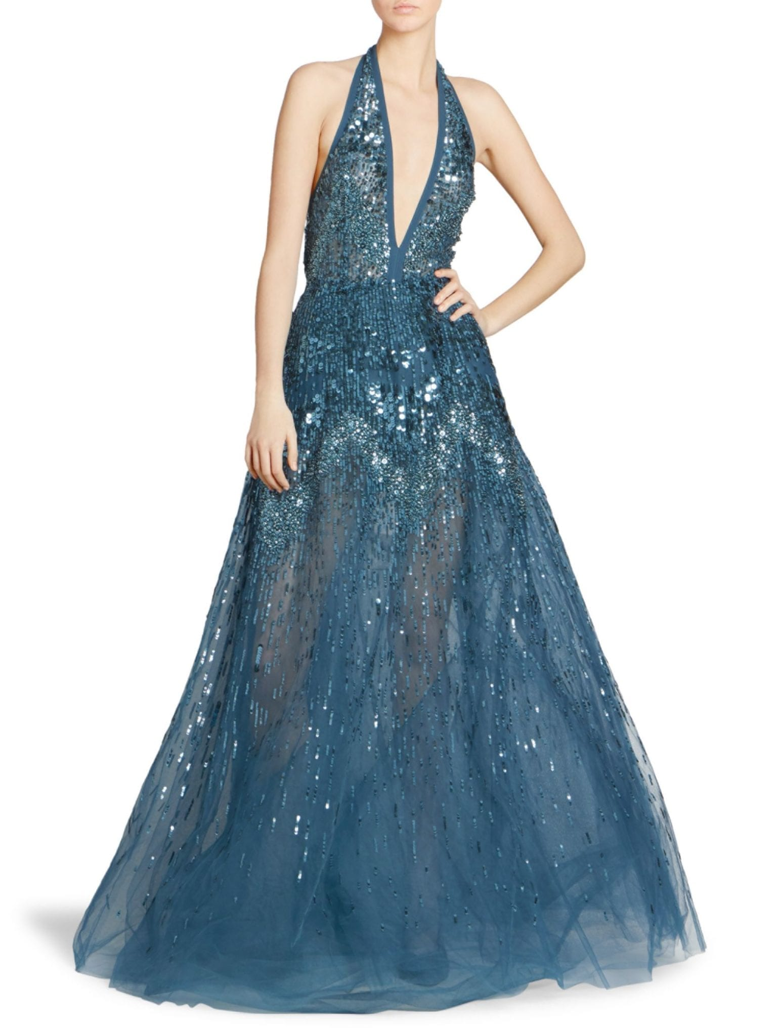 ELIE SAAB Sequin Halter Ball Blue Gown