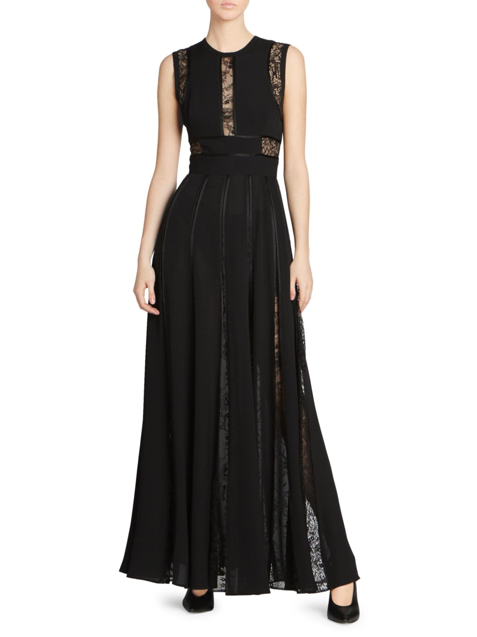 ELIE SAAB Sleeveless Lace Pleated Black Gown