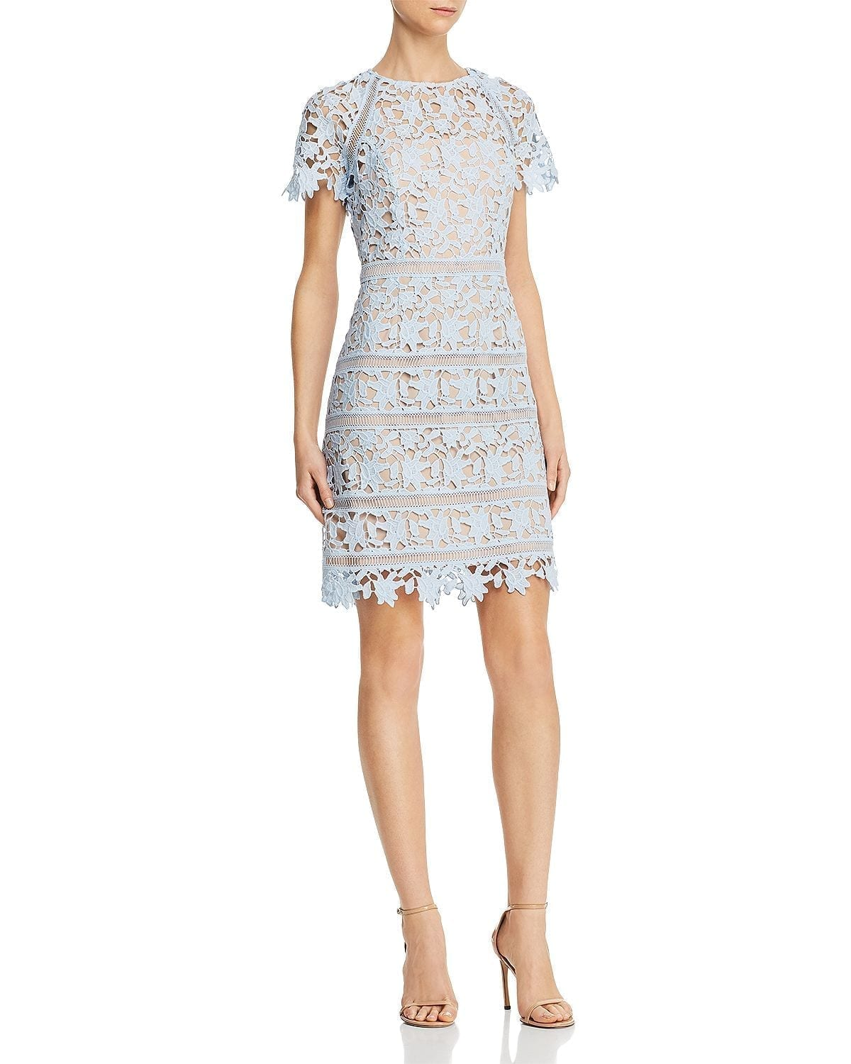 ELIZA J Floral Guipure-Lace Blue Dress