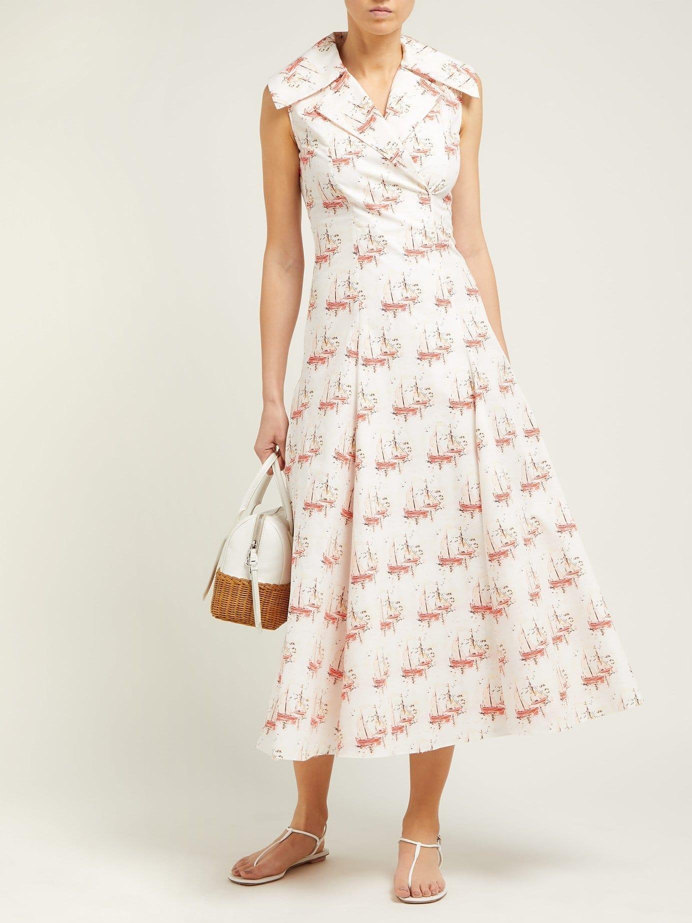 EMILIA WICKSTEAD Gaia Sailboat-Print Poplin Pink Dress