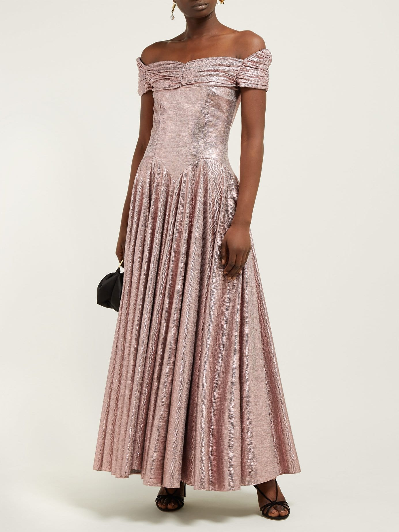 EMILIA WICKSTEAD Nicoletta Off-The-Shoulder Lamé Pink Gown