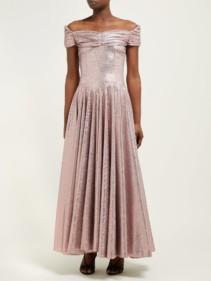 EMILIA WICKSTEAD Nicoletta Off-The-Shoulder Lamé Pink Gown
