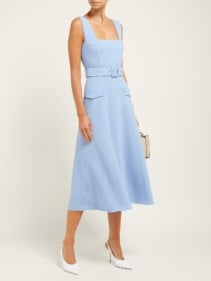 EMILIA WICKSTEAD Petra Panelled Wool-Crepe Blue Dress