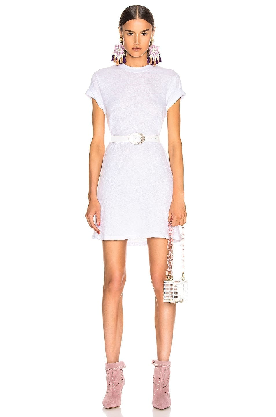 ENZA COSTA Short Sleeve Crew Mini White Dress