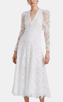 ERDEM Annalee Lace Midi White Dress
