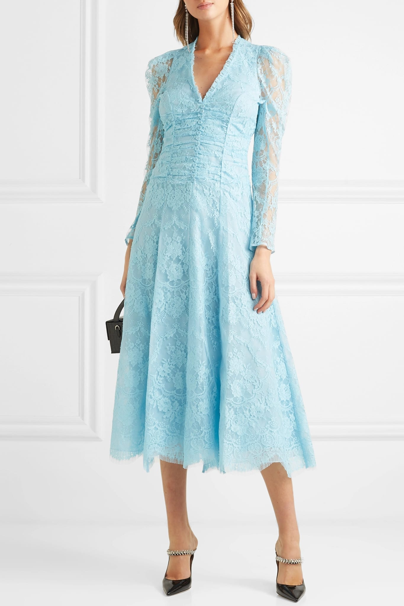 ERDEM Annalee Ruched Corded Lace Blue Dress