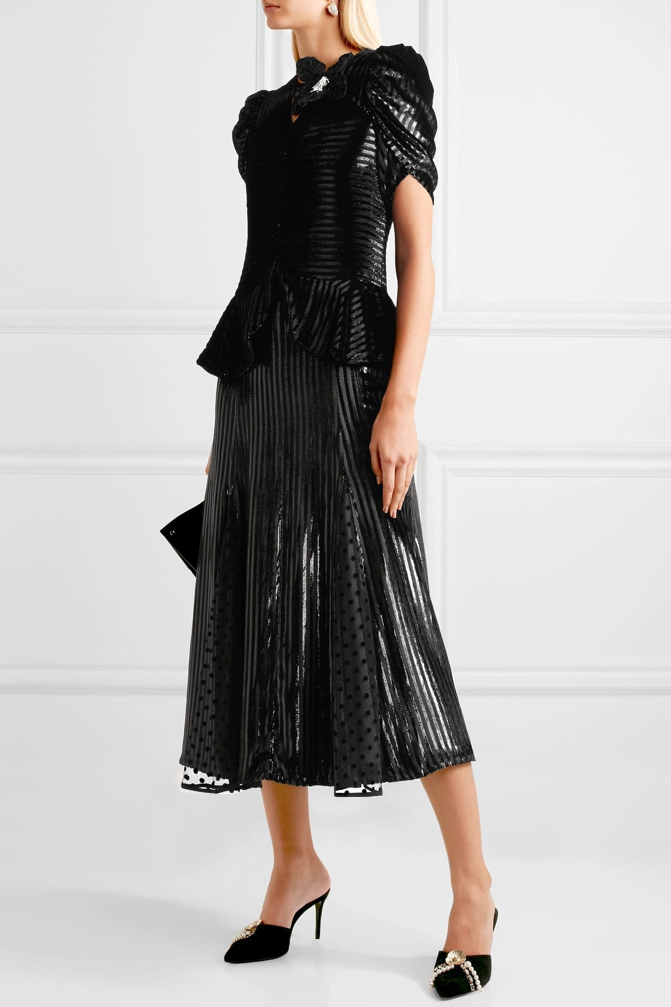 ERDEM Diantha Striped Metallic Velvet And Flocked Tulle Midi Black Dress