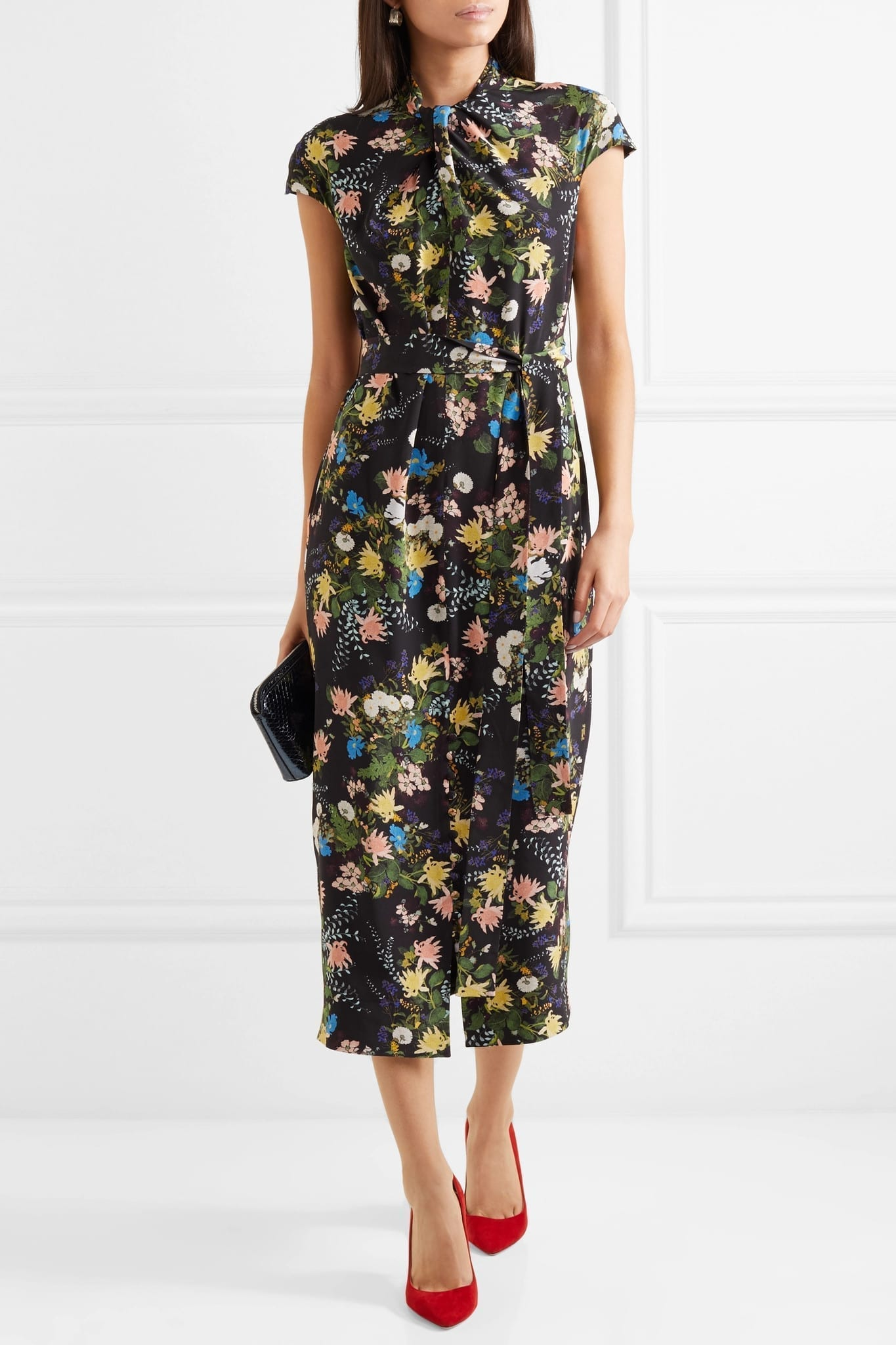 ERDEM Finn Floral-Print Silk-Crepe Midi Black Dress