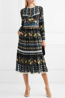 ERDEM Georgie Lace-Trimmed Floral-Print Silk-Crepe Midi Black Dress