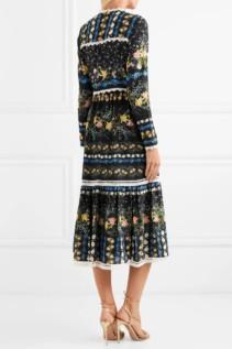 ERDEM Georgie Lace-Trimmed Floral-Print Silk-Crepe Midi Black Dress