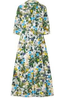 ERDEM Kasia Floral-Print Cotton-Poplin Midi White Dress