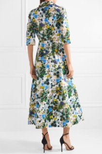 ERDEM Kasia Floral-Print Cotton-Poplin Midi White Dress