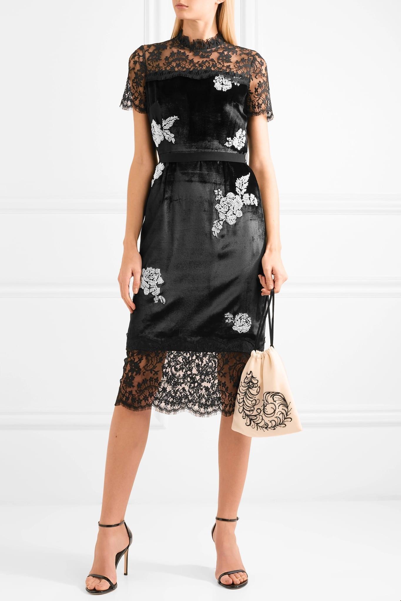 ERDEM Keni Lace Paneled Silk Faille Trimmed Faux Pearl Embellished Velvet Black Dress