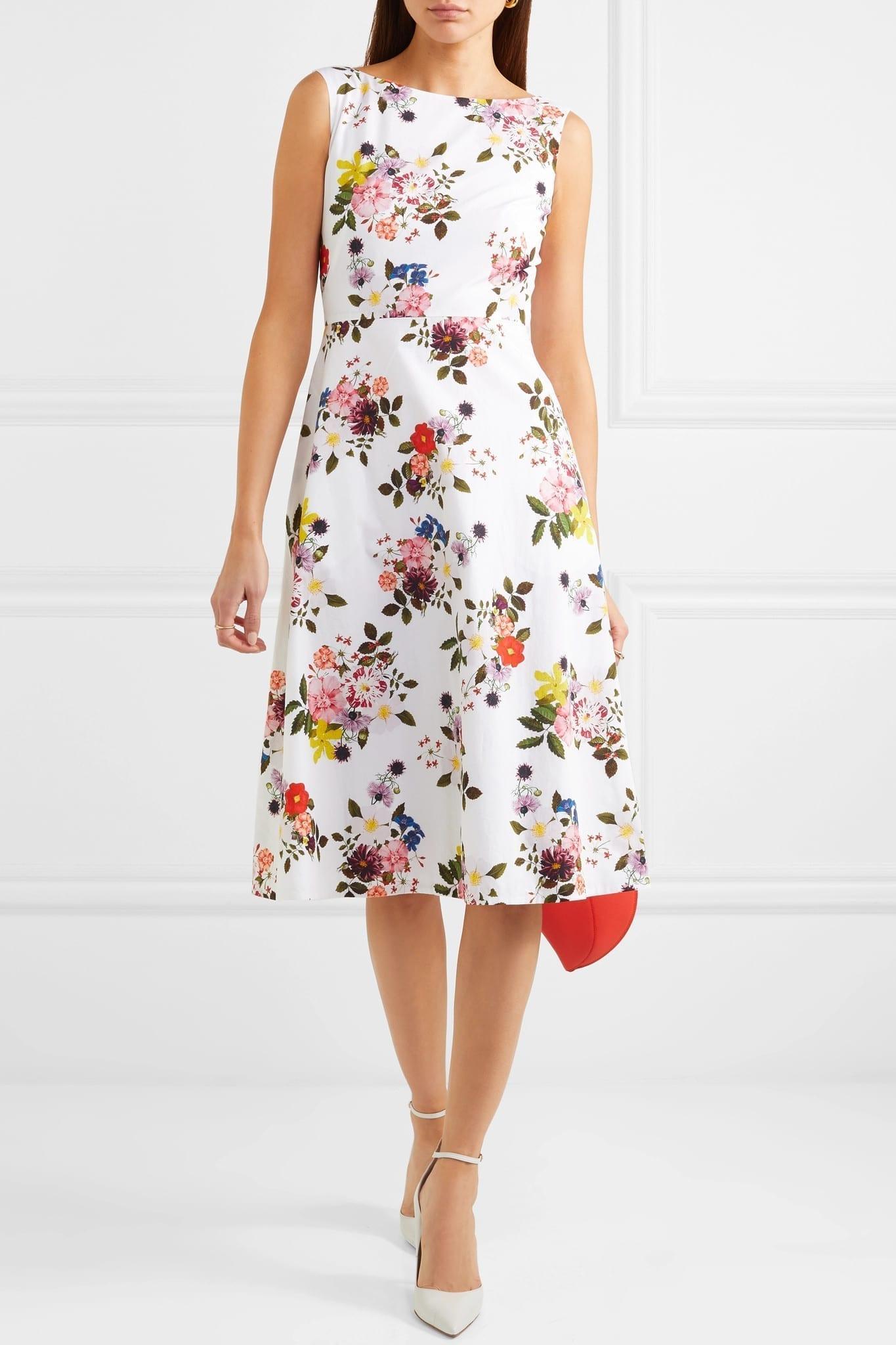 ERDEM Maia Floral-Print Cotton-Poplin White Dress