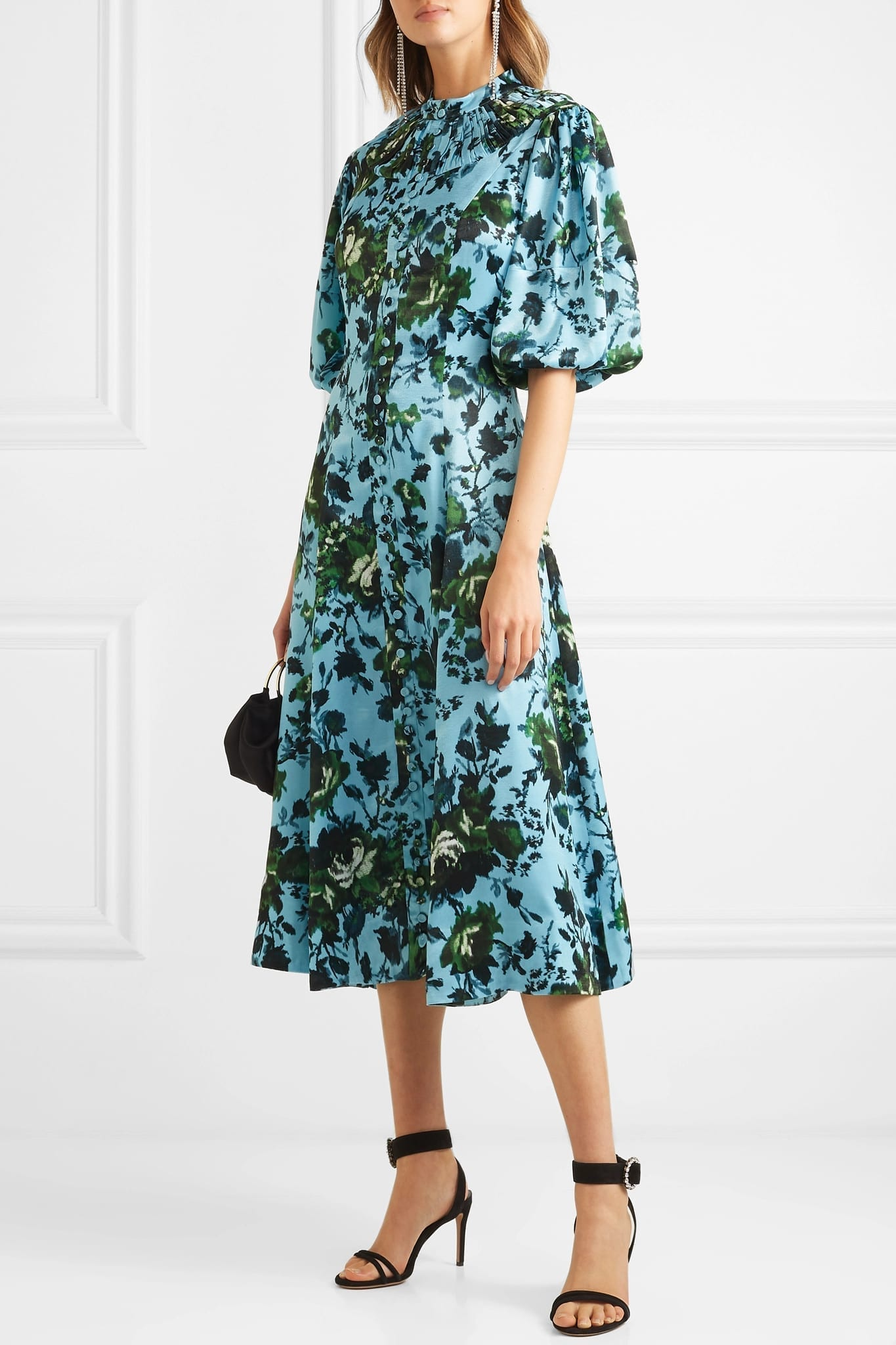 ERDEM Margo Floral-Print Satin Midi Blue Dress